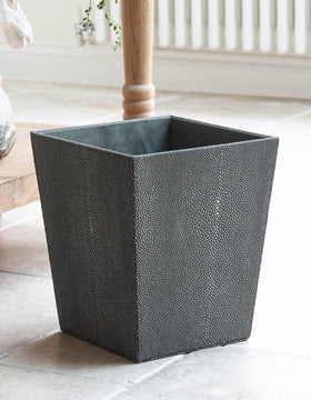 Faux Grey Shagreen Wastepaper Bin