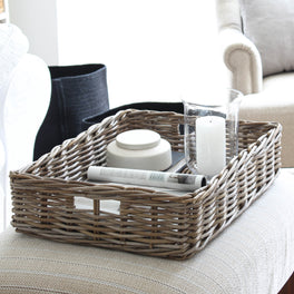 Grey Rattan Display Tray Basket