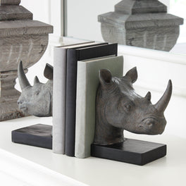 Rhino Head Bookends