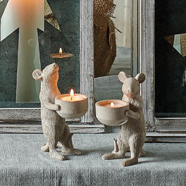 Two Grey Mouse Tea Light Holders