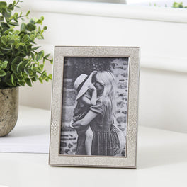 Ivory Faux Shagreen Photo Frame 4x6""