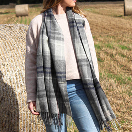 Large Grey And Navy Check Wool Scarf