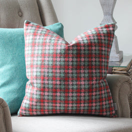 Multi Spot Pink And Turquoise Wool Cushion