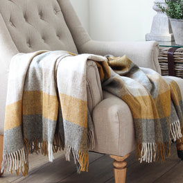 Mustard And Grey Check Wool Throw