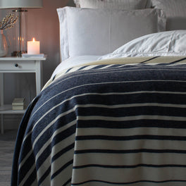 Large Navy And Cream Stripe Lambswool Throw