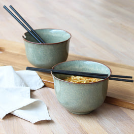 Ceramic Noodle Bowl Set With Chopsticks