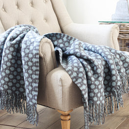 Ruthin Duck Egg And Grey Woven Wool Throw