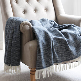 Anglesey Blue Lambswool Throw