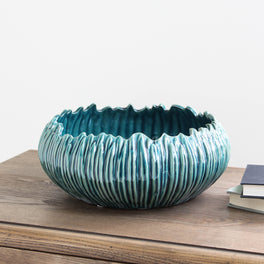 Teal Textured Decorative Bowl