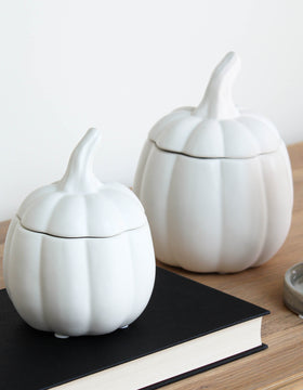 White Ceramic Pumpkin Jar