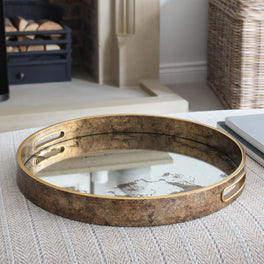 Antique Gold Mirrored Tray
