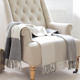 Beige and Grey Cream Check Merino and Cashmere Wool Throw