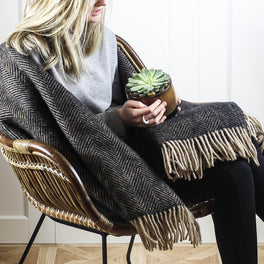 Black And Camel Herringbone Wool Throw