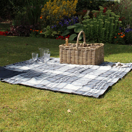 Large Charcoal And Cream Check Picnic Blanket