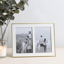 Double Aperture Brass Fine Photo Frame 4x6""