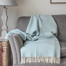 Duck Egg Herringbone Wool Throw