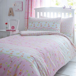 Girls Pink Butterfly Bedding Set Meadow Stripe