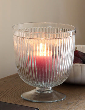 Round Ribbed Glass Candle Holder