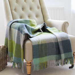 Green and Blue Check Wool Throw