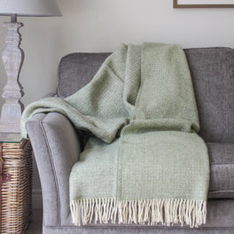 Green & Grey Woven Wool Throw