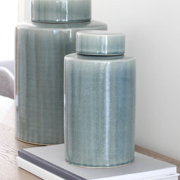 Pale Teal Ceramic Storage Jar