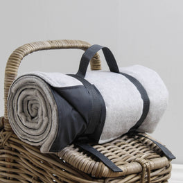 Grey And Charcoal Fleece Picnic Blanket