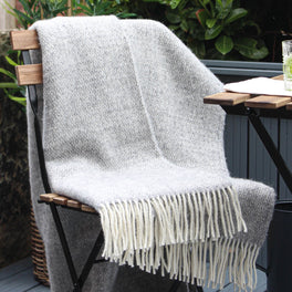 Grey and Cream Woven Wool Throw