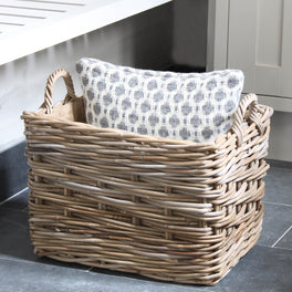 Grey Rattan Hessian Lined Rectangular Basket