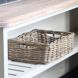 Grey Rattan Shallow Storage Basket