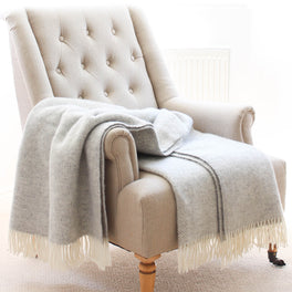 Grey & Cream Herringbone Wool Throw
