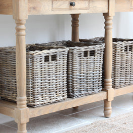 Grey Wash Rattan Drawer Basket