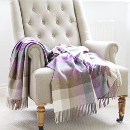 Heather Beige Check Wool Throw