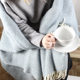Klys Blue Wool Throw