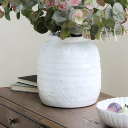 Large Distressed White Vase