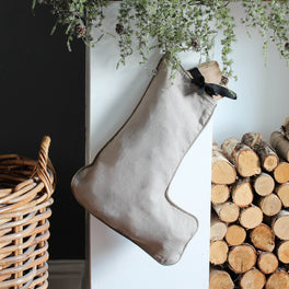 Natural Linen Christmas Stocking