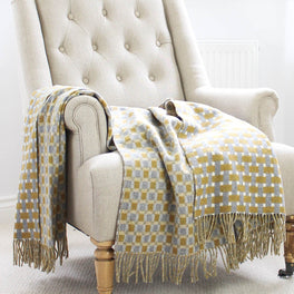 Mustard And Grey Basket Weave Wool Throw