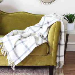 Natural Undyed Cream & Grey Check Wool Throw