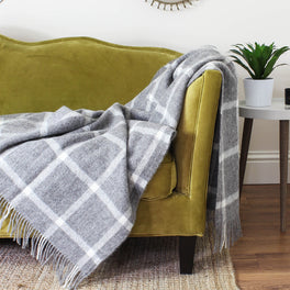 Natural Undyed Grey & Cream Check Wool Throw