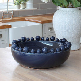 Large Decorative Navy Blue Bowl