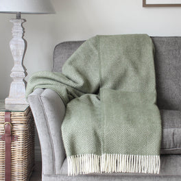 Olive Green Herringbone Wool Throw