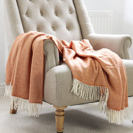 Orange Parquet Design Wool Throw