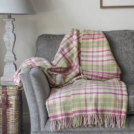 Raspberry Pink and Green Check Wool Throw