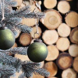 Green Rustic Baubles - Set of 6