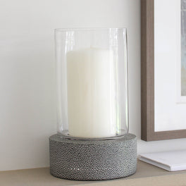 Grey Faux Shagreen Candle Holder