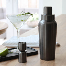 Pewter Cocktail Shaker And Jigger Set