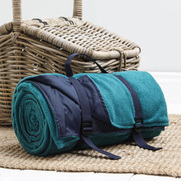 Large Teal Green And Navy Fleece Picnic Blanket