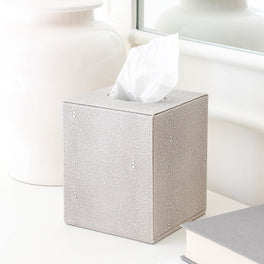 Faux Shagreen Ivory Tissue Box