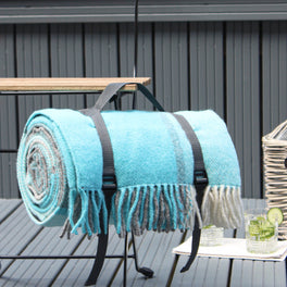Turquoise Check Wool Picnic Blanket