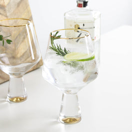 Two Gold Gin Glasses