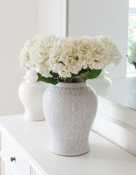 Real Touch Large Faux White Hydrangea Stem